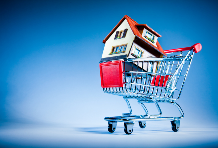 House in shopping cart showing seller's market