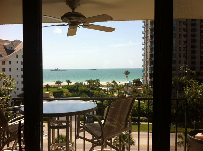 Sand Key condo view across street of Gulf