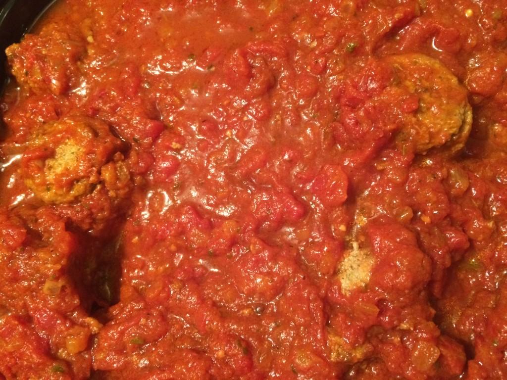 Housewarming meatballs in maranara sauce